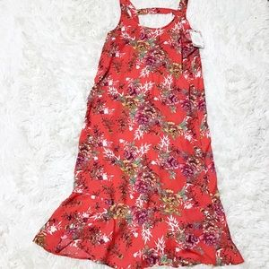 NWT Pink Rose Red Floral Swing Dress